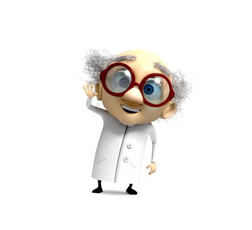 Professeur Bouldingue, mascotte 3D pour un jeu FaceBook