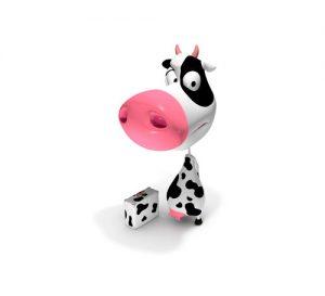 Mascotte vache 3d dans différentes positions.