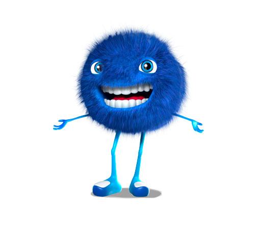 Une boule de poils toute bleue, mascotte 3d